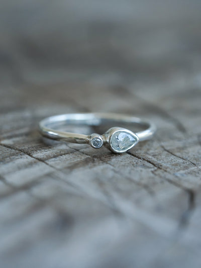 Pear and Round Rose Cut Diamond Ring