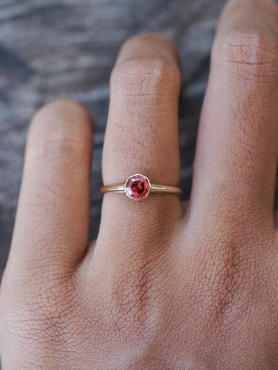 Custom Garnet Ring in Gold