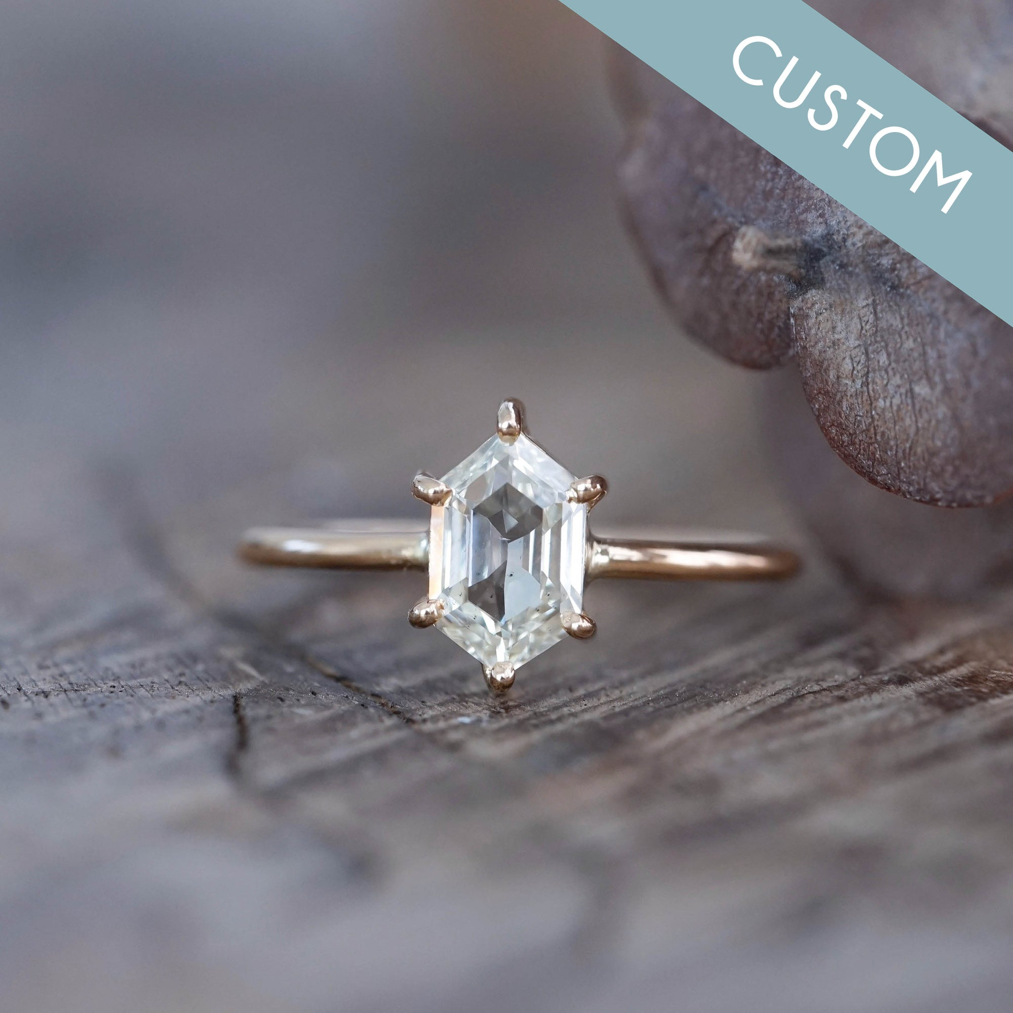 Custom Brilliant Cut Hexagon Diamond Ring