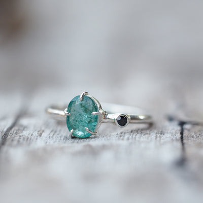 Oval Emerald and Black Spinel Ring - Gardens of the Sun Jewelry