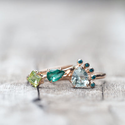 Emerald and Peridot Ring in Rose Gold - Gardens of the Sun Jewelry