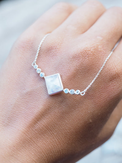 Geo Cut Moonstone Necklace - Gardens of the Sun Jewelry