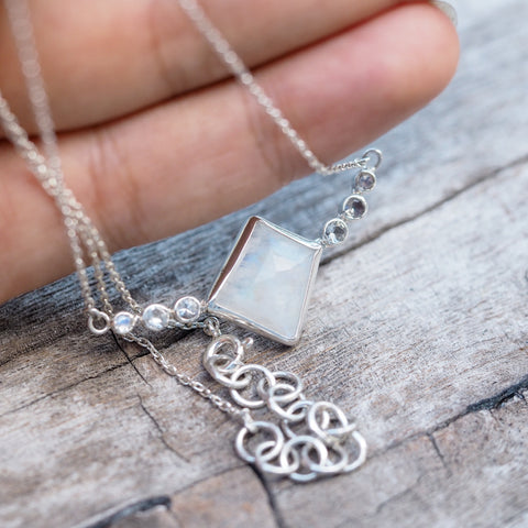 Geo Cut Moonstone Necklace