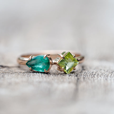 Emerald and Peridot Ring in Rose Gold