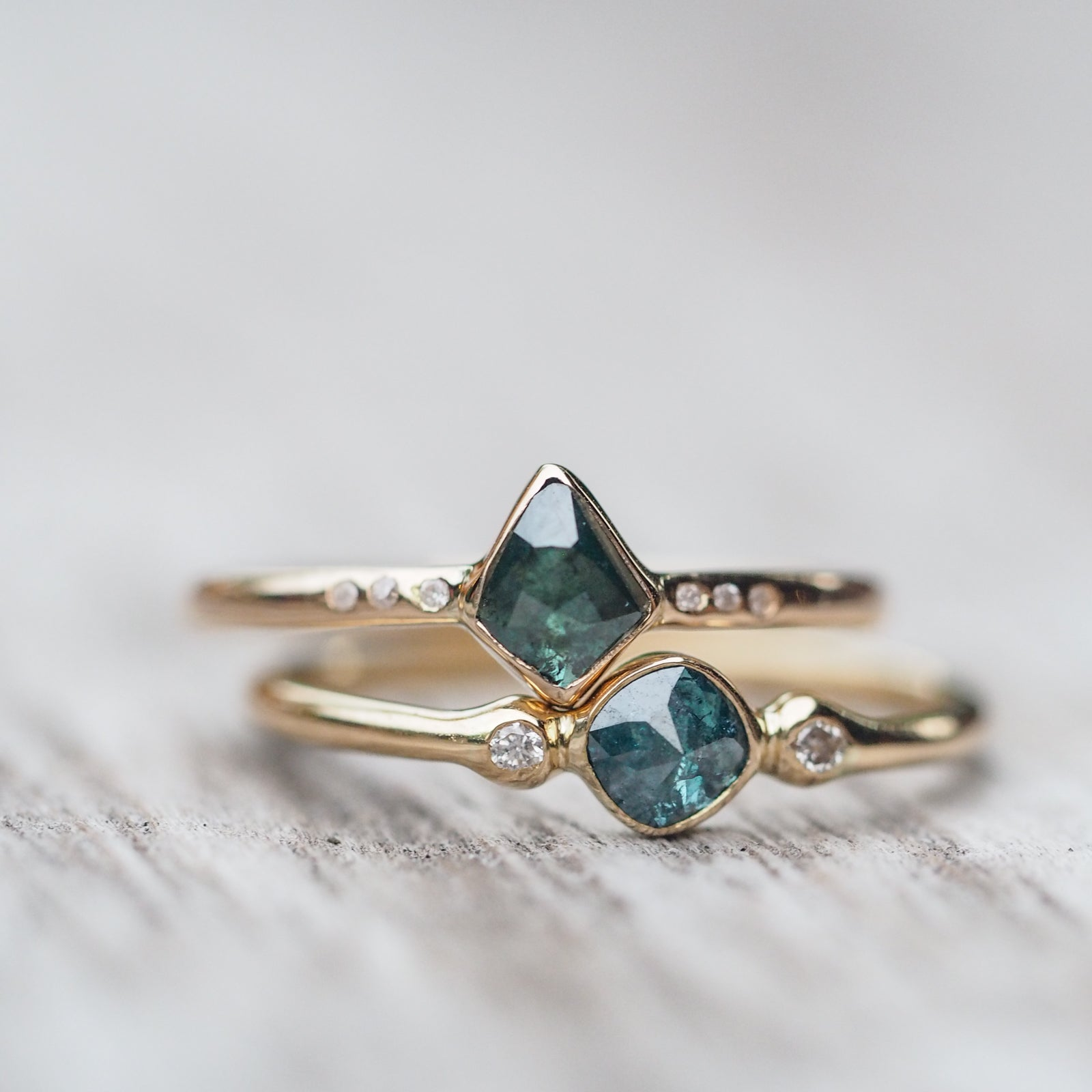 Blue Rose Cut Diamond Ring | Build Your Own
