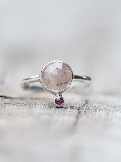 Pale sapphire and pink tourmaline ring - Gardens of the Sun Jewelry