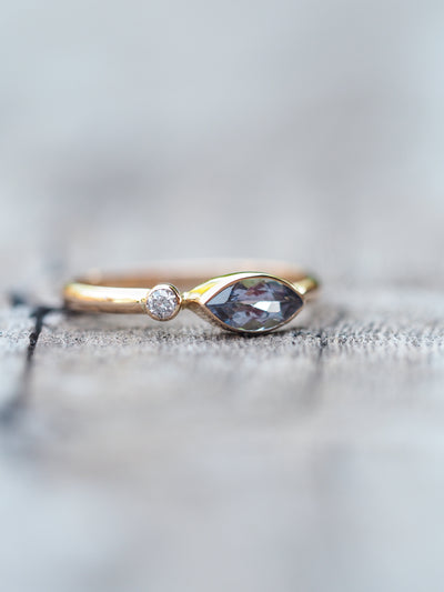 Marquise Tanzanite and Diamond Ring in Rose Gold - Gardens of the Sun Jewelry