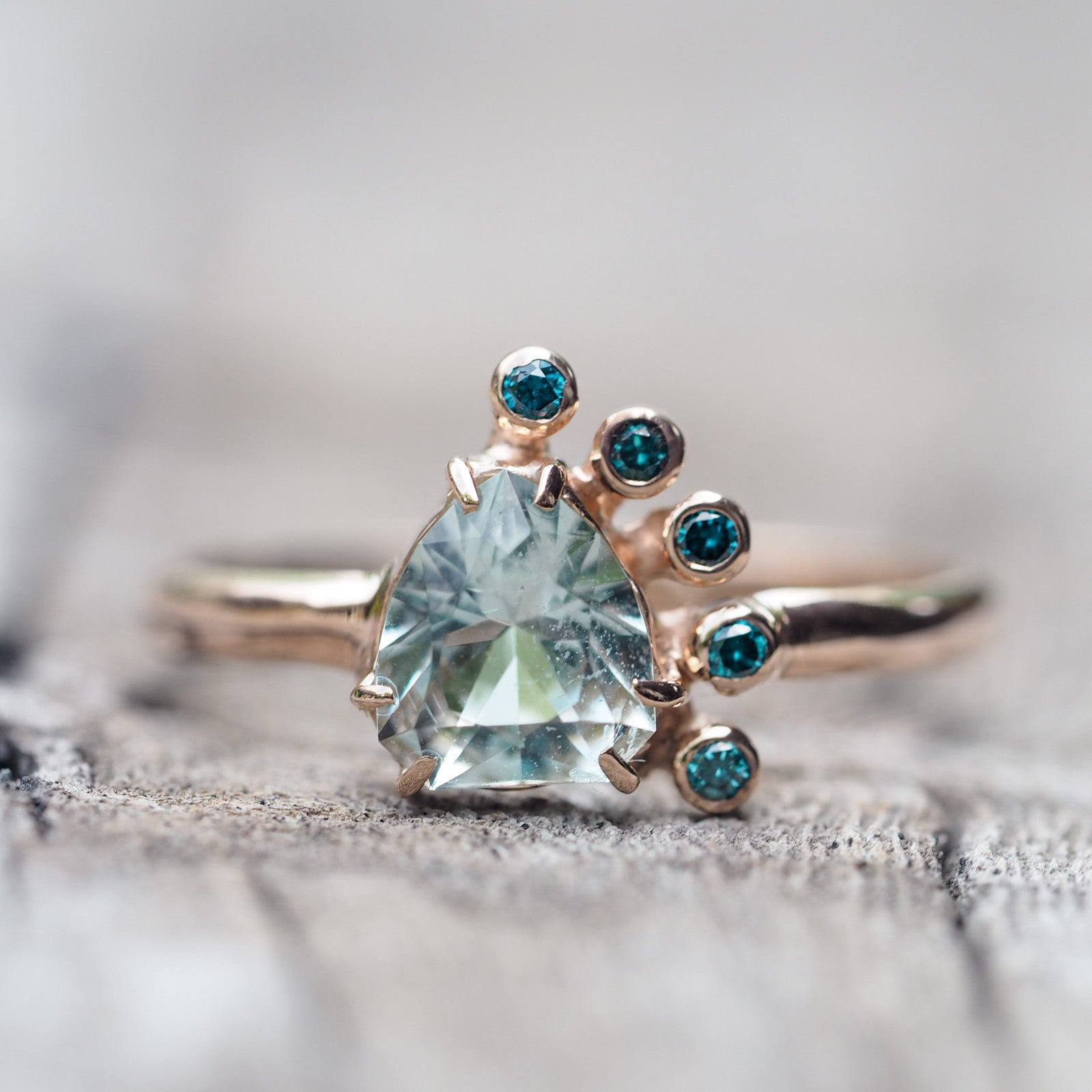 Aquamarine and Blue Diamond Ring in Rose Gold
