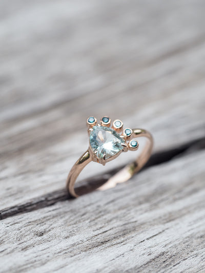 Aquamarine and Blue Diamond Ring in Rose Gold - Gardens of the Sun Jewelry
