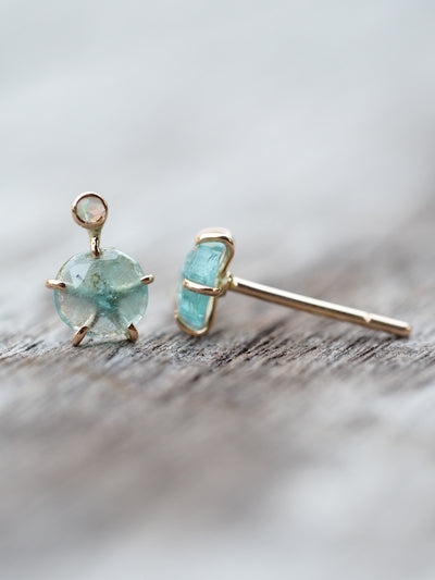 Green Tourmaline and Opal Earrings in Gold - Gardens of the Sun Jewelry