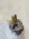 California Green Tourmaline and Blue Diamond Ring in Rose Gold - Gardens of the Sun Jewelry
