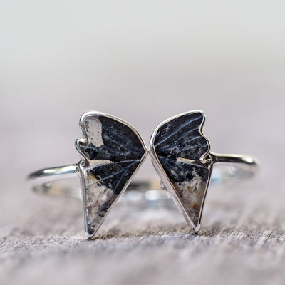 Black and White Quartz Wing Ring - Gardens of the Sun Jewelry