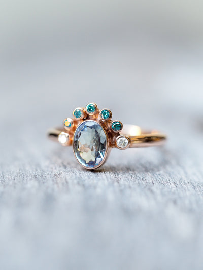 Crowned Tanzanite Ring in Rose Gold - Gardens of the Sun Jewelry