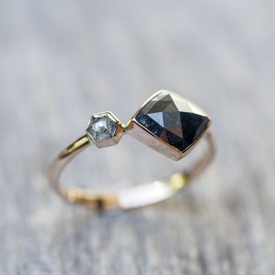 Kite and Hexagon Diamond Ring in Rose Gold - Gardens of the Sun Jewelry