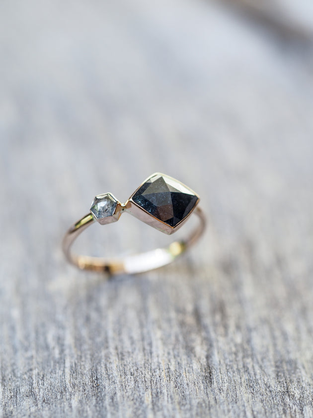 Kite and Hexagon Diamond Ring in Rose Gold Gardens of the Sun