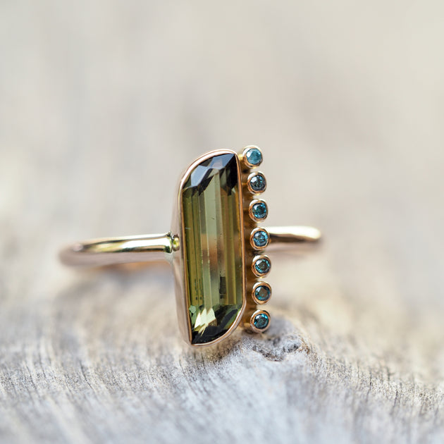 California Green Tourmaline and Blue Diamond Ring in Rose Gold