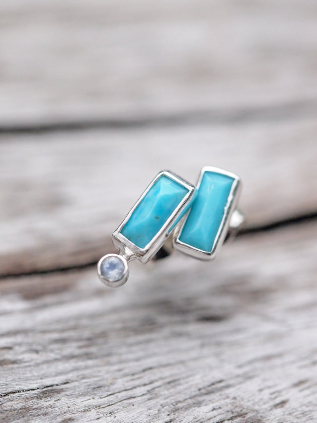 Turquoise & Moonstone Mismatched Earrings - Gardens of the Sun Jewelry
