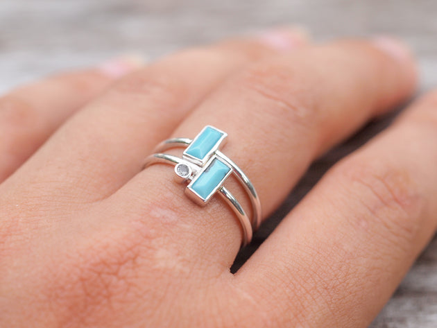 Turquoise Moonstone Ring - Gardens of the Sun Jewelry
