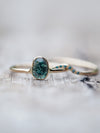Dragon's Eye Blue Diamond Bridal Ring Set - Gardens of the Sun Jewelry
