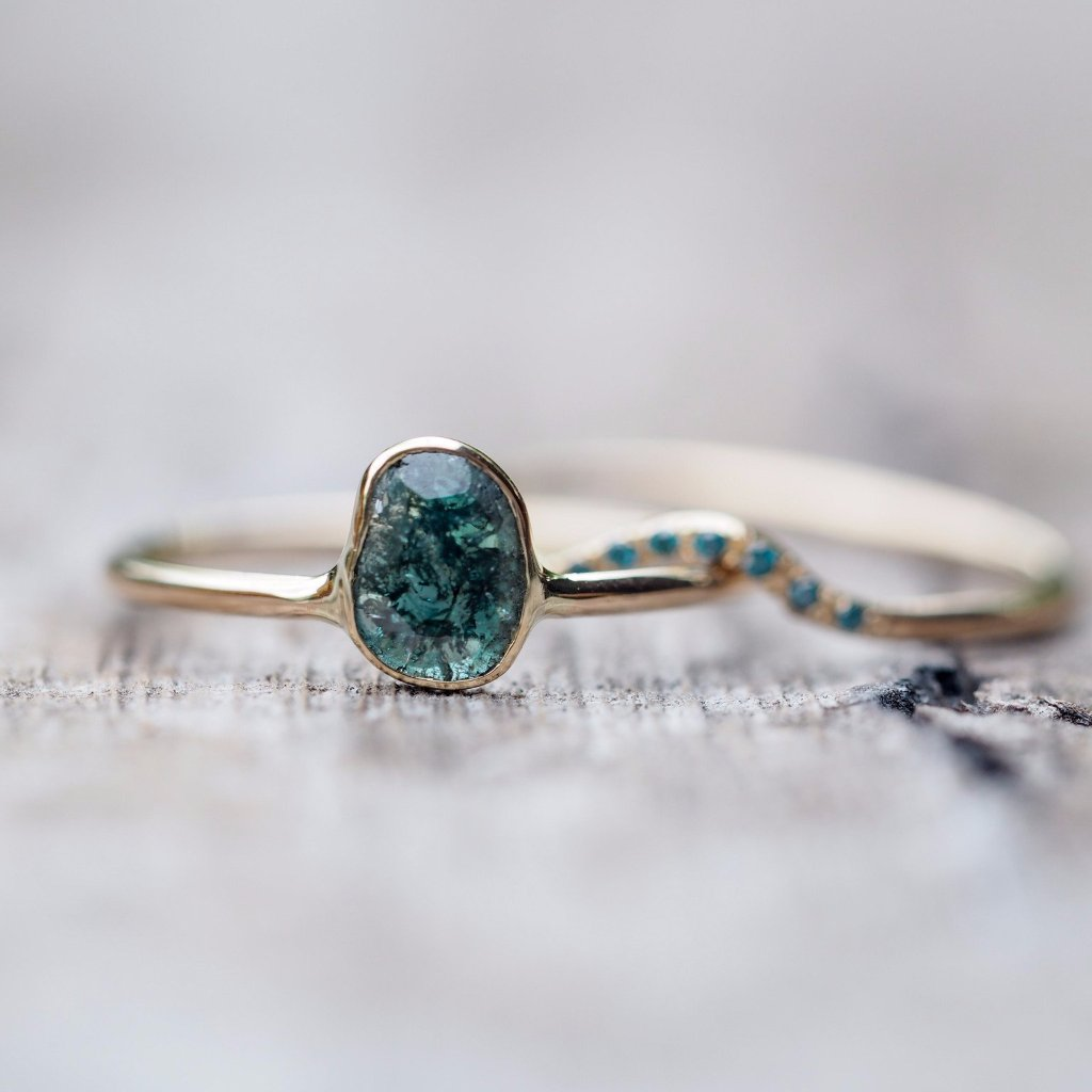 Custom Blue Diamond Slice Ring - Gardens of the Sun Jewelry