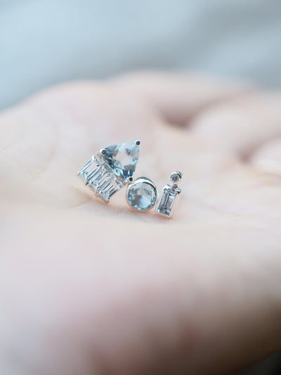 Dew Shower // Single Aquamarine Earring - Gardens of the Sun Jewelry