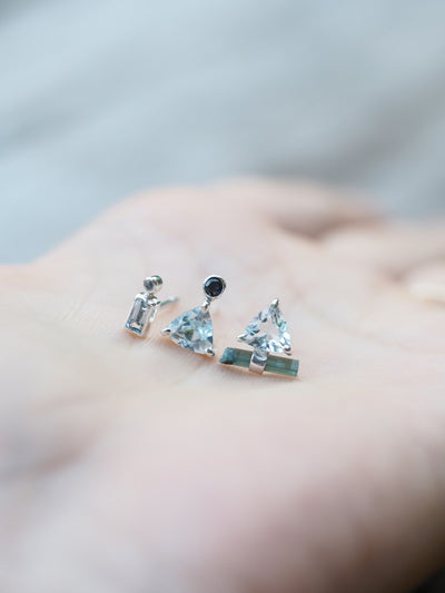 Trillion Aquamarine and Sapphire Earrings - Gardens of the Sun Jewelry