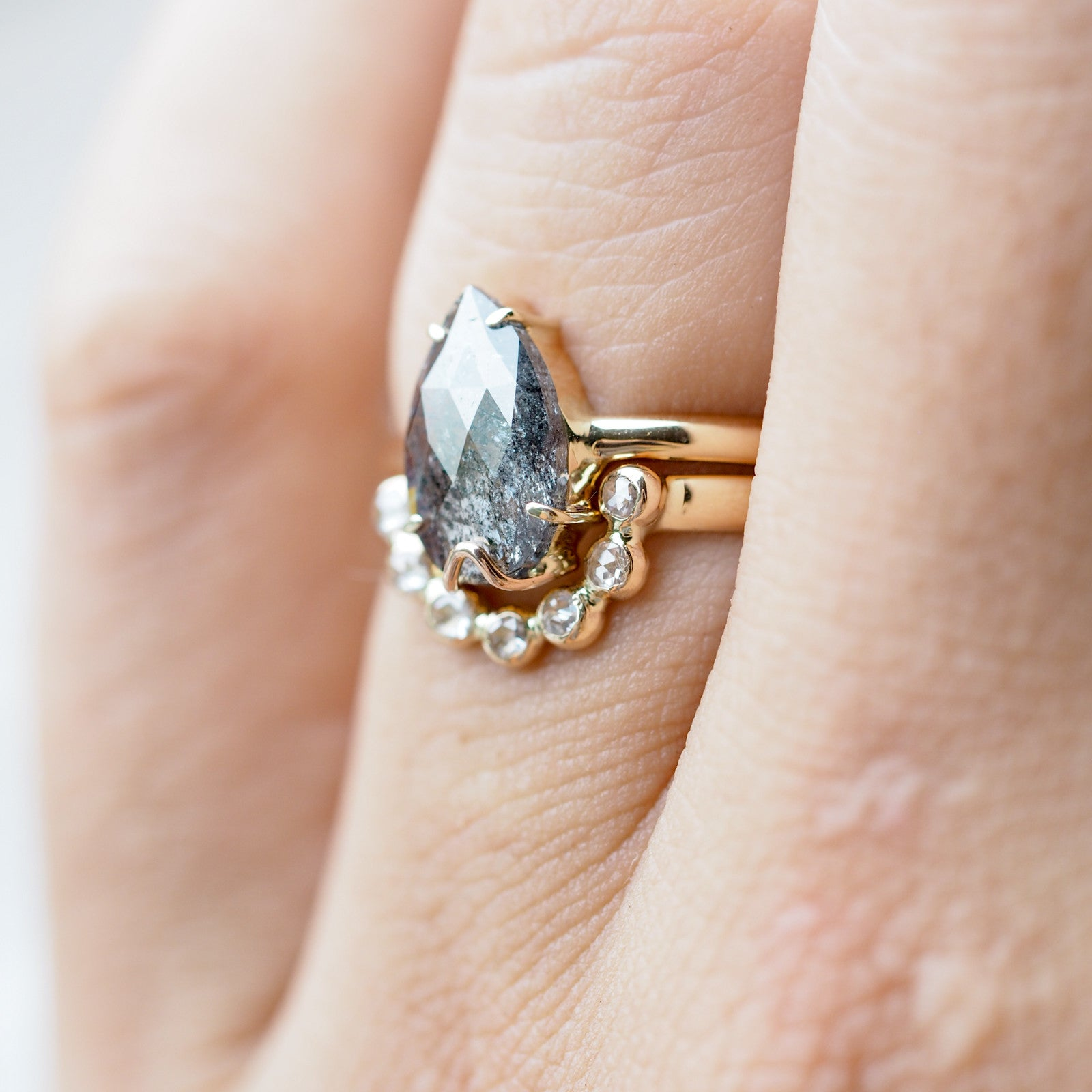 Dark Desires // Salt and Pepper Diamond Ring Set - Gardens of the Sun Jewelry