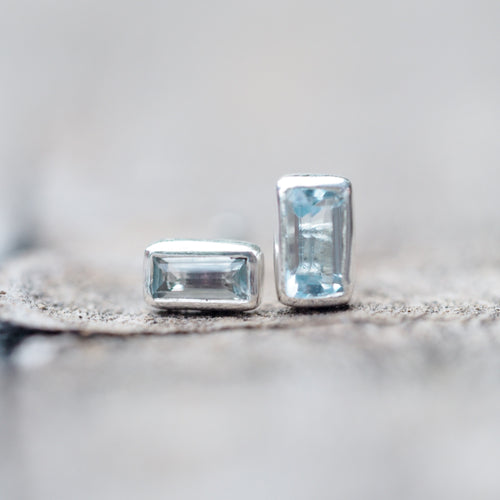 Baguette Aquamarine // Single Earring - Gardens of the Sun Jewelry