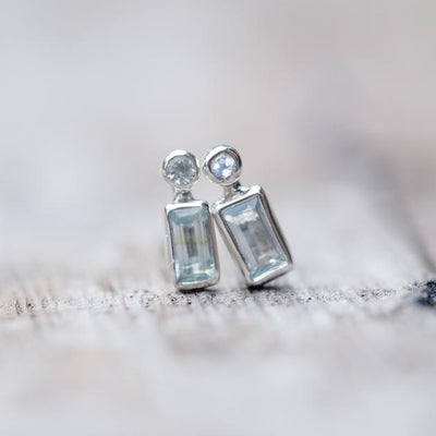 Baguette Aquamarine and Moonstone Earrings - Gardens of the Sun Jewelry