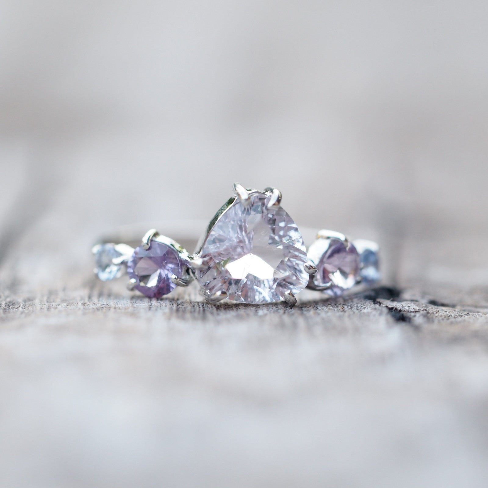 Amethyst and Tanzanite Cluster Ring