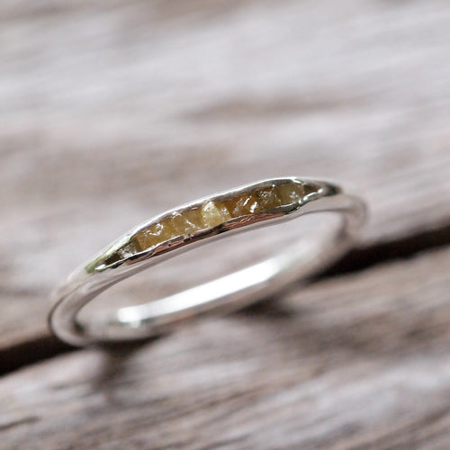 Raw Yellow Diamond Ring // Hidden Gems - Gardens of the Sun Jewelry