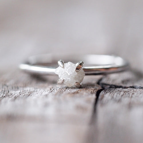 Virgin Rebel // Raw White Diamond Ring - Gardens of the Sun Jewelry
