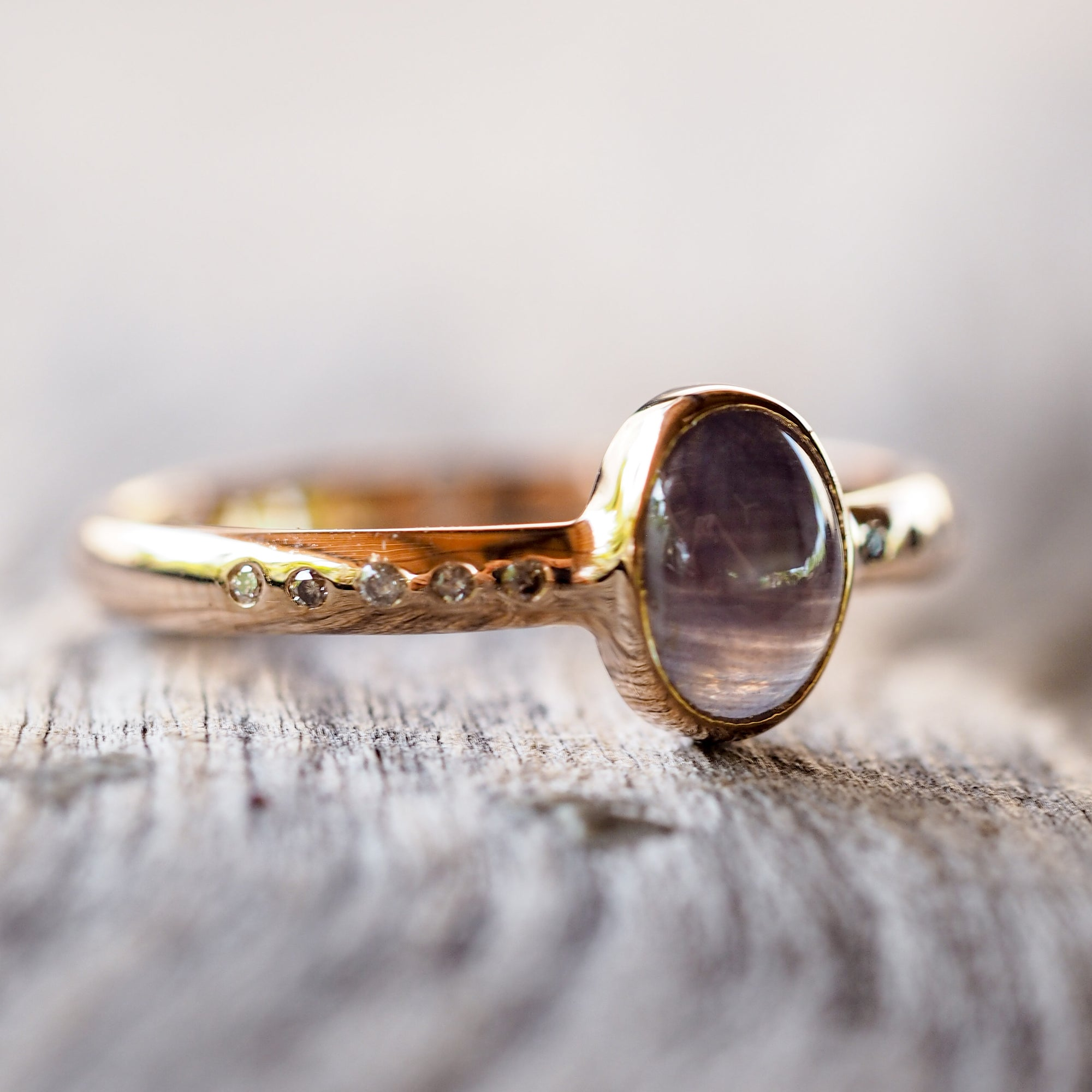 Ceylon Star Sapphire Ring in Rose Gold - Gardens of the Sun Jewelry