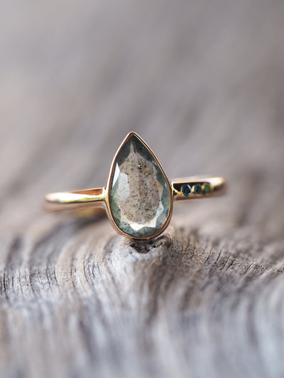Moss Aquamarine and Blue Diamond Ring - Gardens of the Sun Jewelry