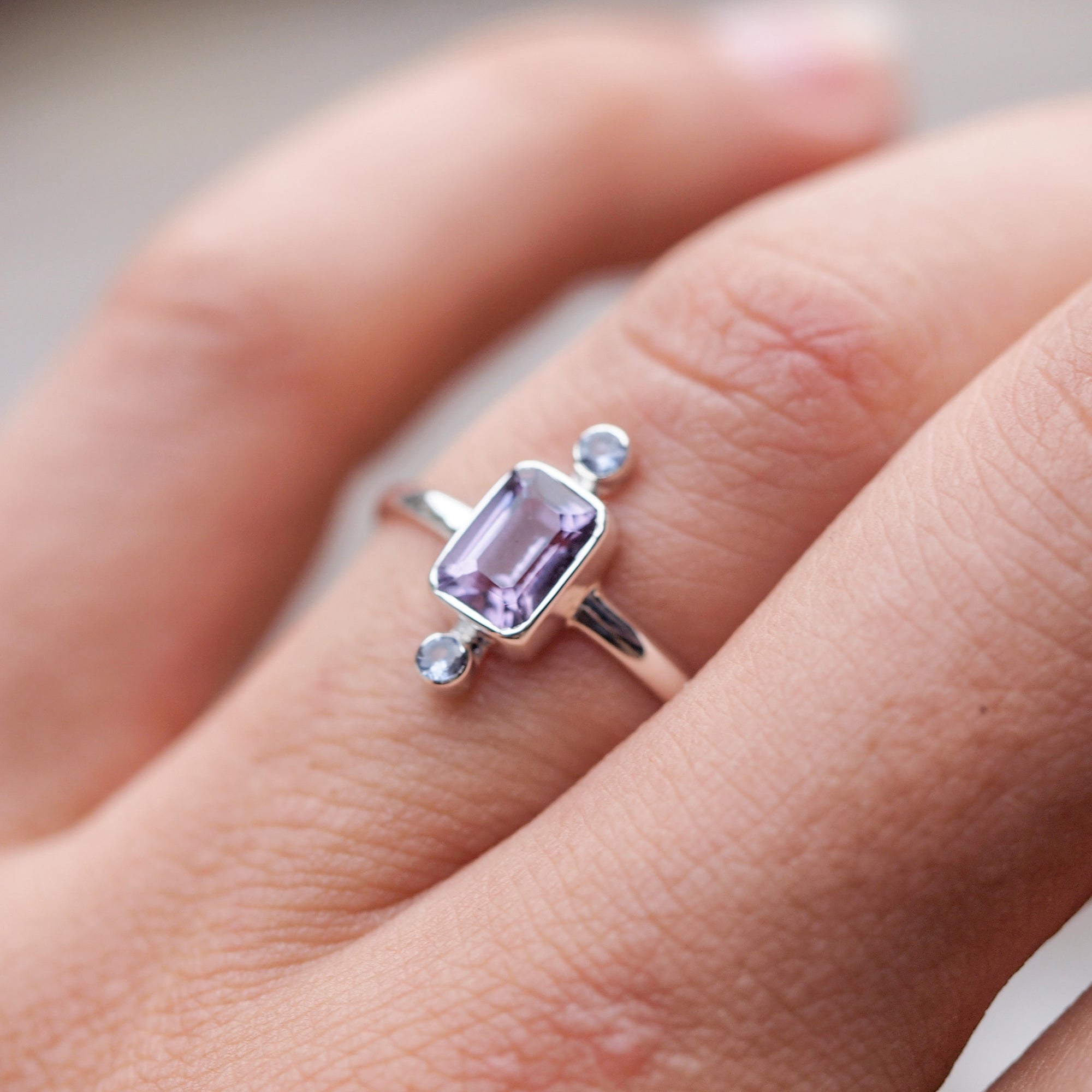 Meaning of Light // Amethyst and Tanzanite Ring - Gardens of the Sun