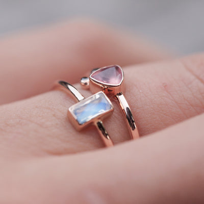 Baguette Moonstone Ring in Gold - Gardens of the Sun Jewelry