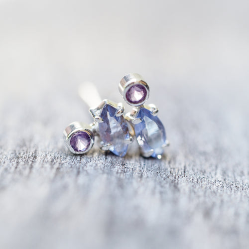 Mismatched Amethyst and Tanzanite Earrings - Gardens of the Sun Jewelry