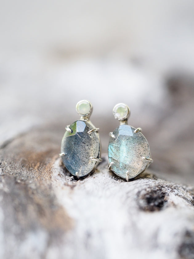 Rose Cut Labradorite and Opal Earrings