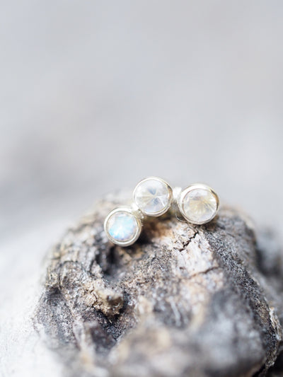 Constellation Trinity // Single Earrings with Three Moonstones - Gardens of the Sun Jewelry