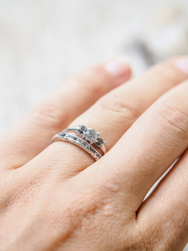 Grey and Black Diamond Ring in White Gold - Gardens of the Sun Jewelry