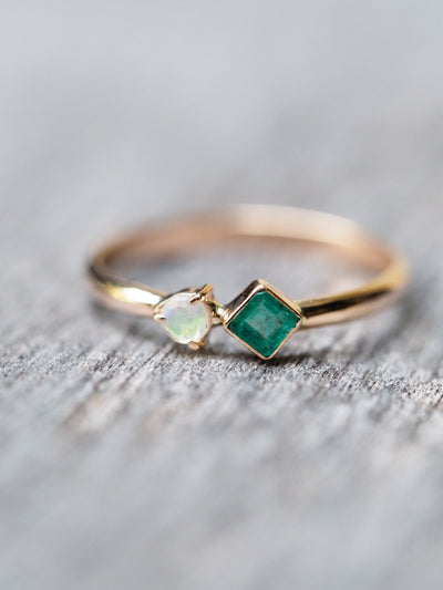 North Carolina Emerald and Opal Ring in Rose Gold - Gardens of the Sun Jewelry