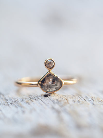Pear Diamond Slice Ring in Rose Gold - Gardens of the Sun Jewelry