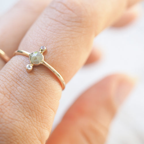 Diamond and Moonstone Ring in Gold - Gardens of the Sun Jewelry