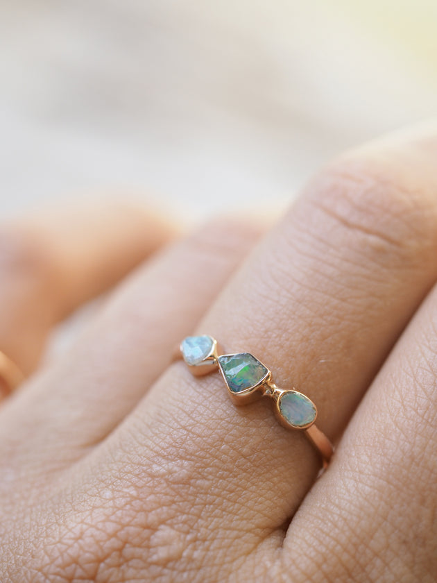 Rough Opal Ring in Rose Gold Gardens of the Sun