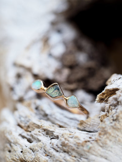 Rough Opal Ring in Rose Gold - Gardens of the Sun Jewelry