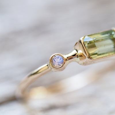 Tourmaline and Moonstone Ring in Yellow Gold - Gardens of the Sun Jewelry