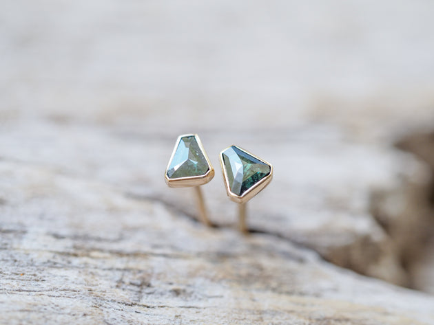 Blue Diamond Slice Earrings in Gold