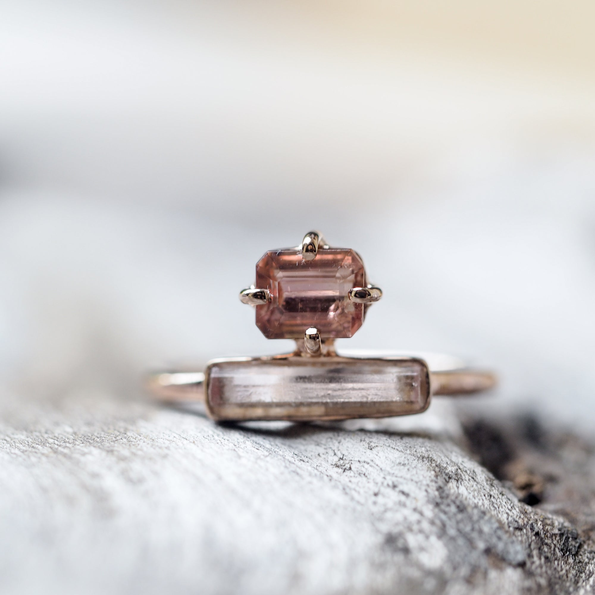 Cherry Blossom Tourmaline and Pink Crystal Ring in Rose Gold