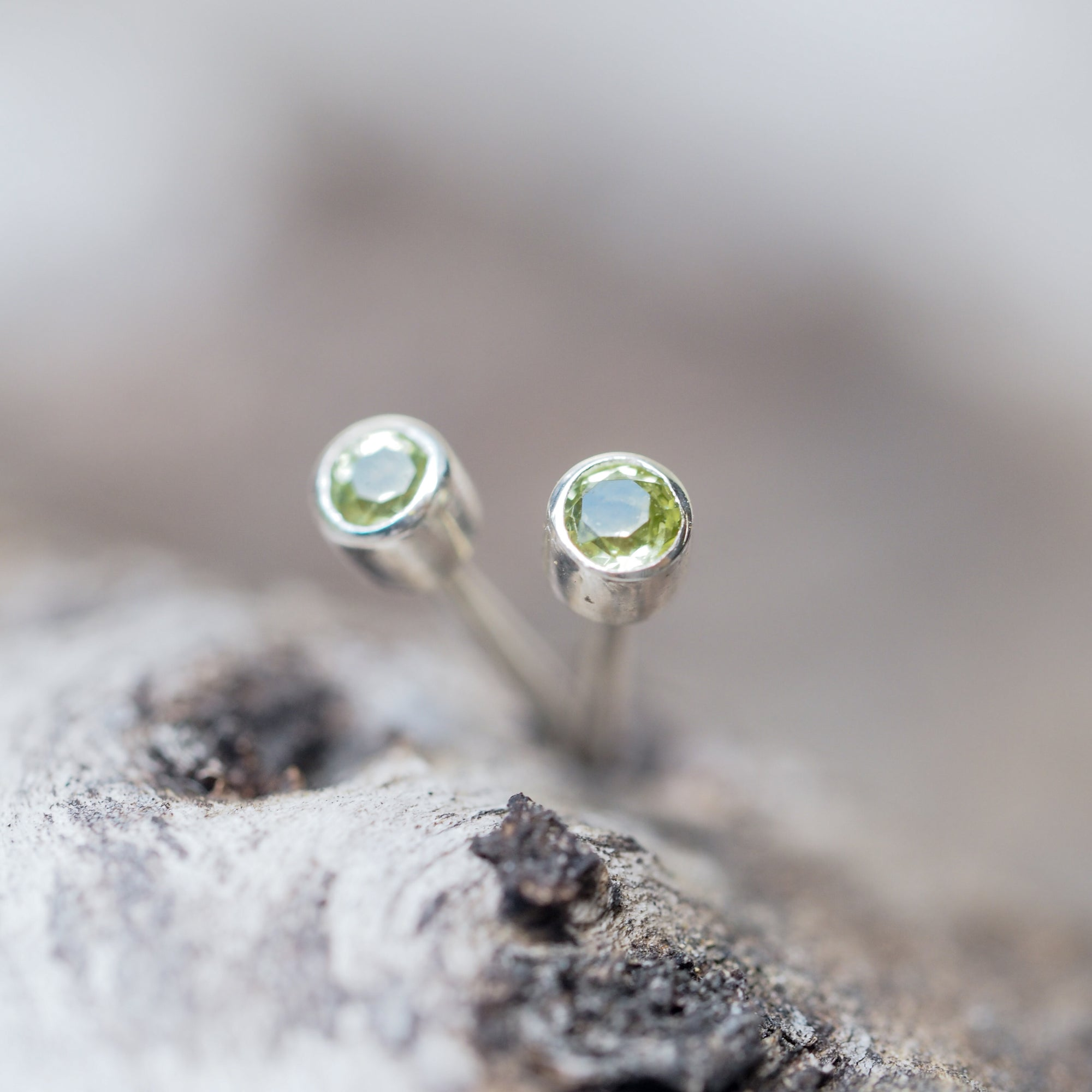 Simple Peridot Studs - Gardens of the Sun Jewelry