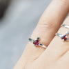 Triangle Garnet and Black Spinel Ring - Gardens of the Sun Jewelry